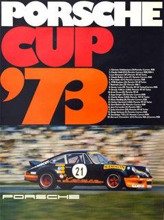 Original Vintage Auto Racing Poster Porsche Cup 1973 911 Carrera Car Motorsport