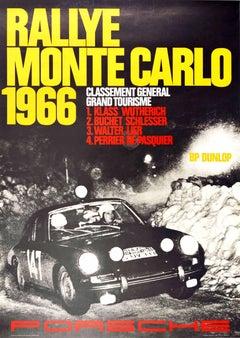 Original Vintage Poster Rallye Monte Carlo 1966 Porsche 911 Car GT Auto Racing