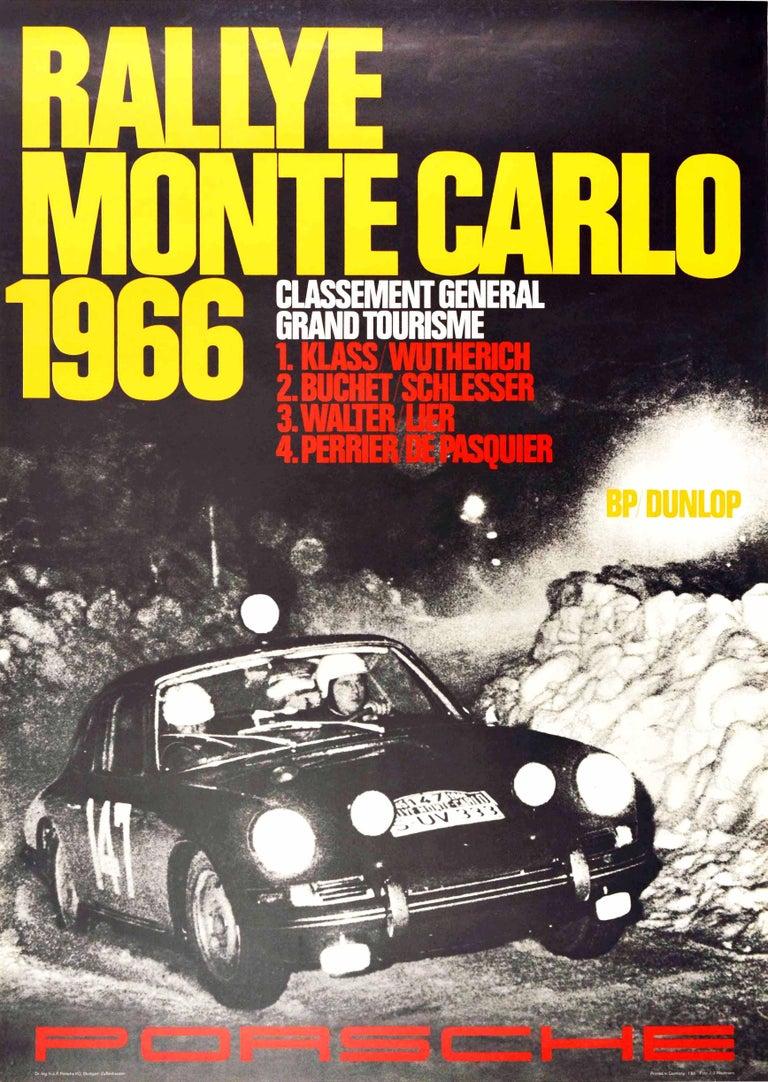 J.J. Weitmann Print - Original Vintage Poster Rallye Monte Carlo 1966 Porsche 911 Car GT Auto Racing