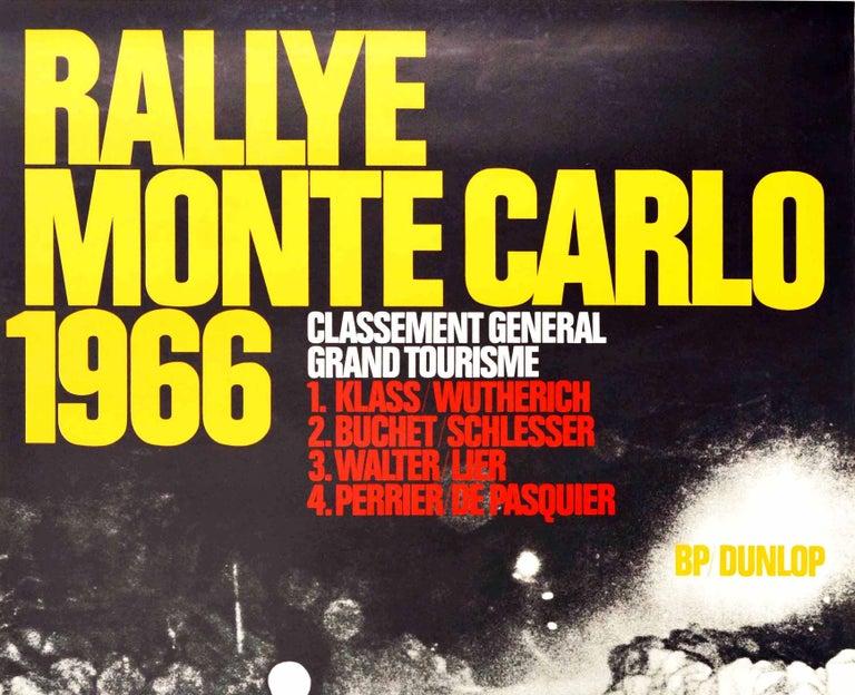 Original Vintage Poster Rallye Monte Carlo 1966 Porsche 911 Car GT Auto Racing - Print by J.J. Weitmann