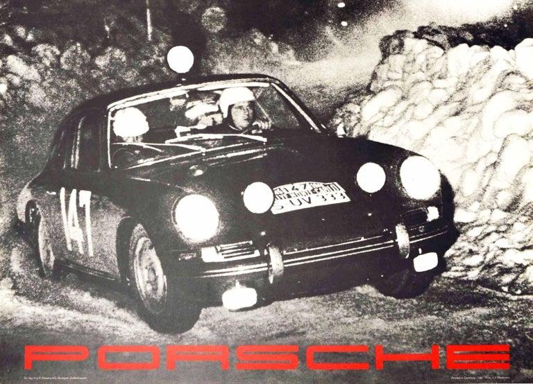Original Vintage Poster Rallye Monte Carlo 1966 Porsche 911 Car GT Auto Racing - Black Print by J.J. Weitmann