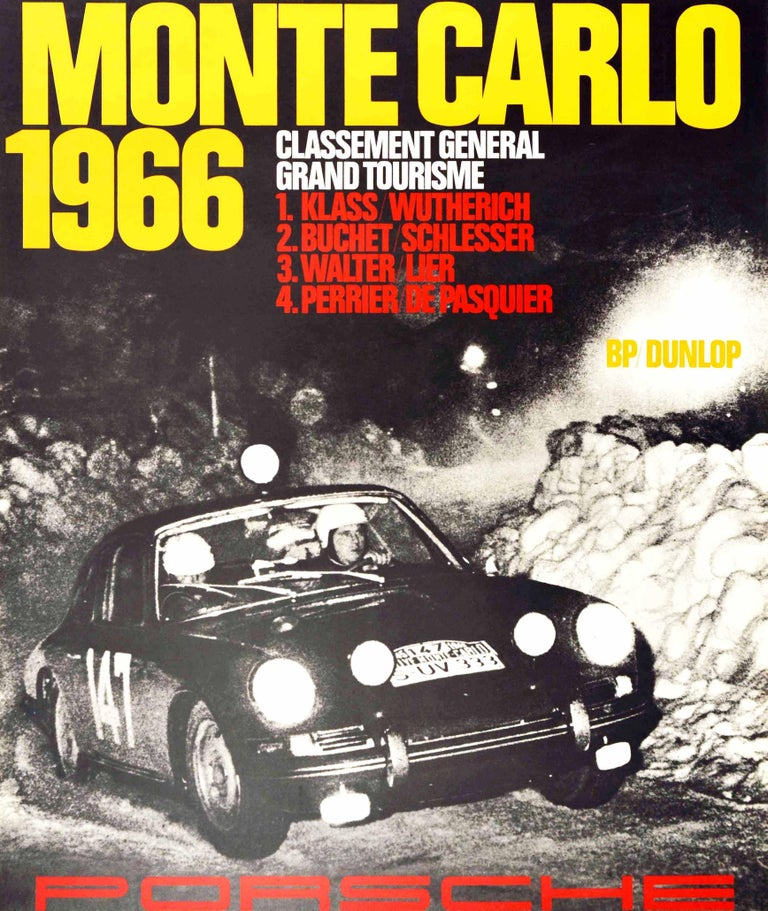 Original vintage motorsport poster for the victories by Porsche at the Rallye Monte Carlo 1966 featuring a black and white photo of a Porsche rally car racing on a road with the bold yellow title text and list of winning drivers in white and red
