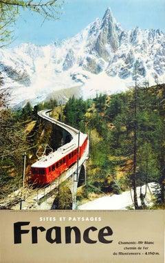 Original Vintage Poster Chamonix Mont Blanc Railway Montenvers Mountain Train