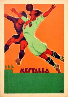 Original Vintage Art Deco Sport Poster Football Mestalla Stadium Valencia Spain