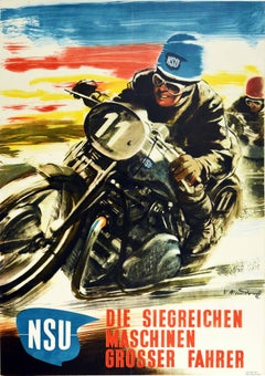 Original Vintage Poster NSU Motorcycle Racing Victorious Machines Great Drivers