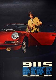 Original Vintage Poster Porsche 911S Safety Comfort Performance Pride Sports Car