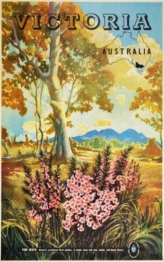 Original Vintage Poster Victoria Australia Pink Heath Flowers Map National Park