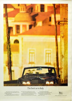 Original Vintage Poster Rolls Royce Corniche The Best Car In Italy Amalfi Coast