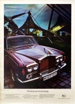 Original Vintage Poster Rolls Royce Silver Shadow Olympic Stadium Munich Germany