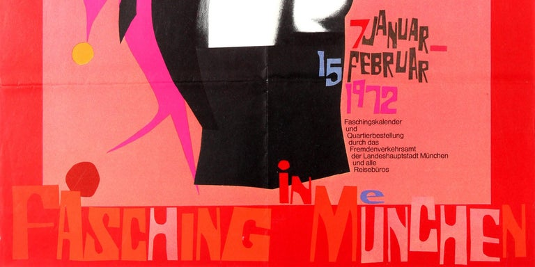 Original vintage advertising poster for the Fasching lent carnival in Munich from 7 January to 15 February 1972 - Fasching in Munchen - featuring a colourful illustration depicting a scantily clad topless lady with multi coloured circles around her