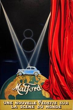 Original Vintage Classic Car Advertising Poster Matford V8 Art Deco Stage Design