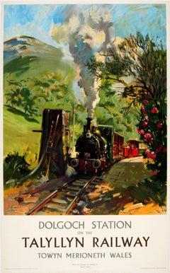 Original Vintage Steam Train Poster Dolgoch Station On The Talylln Railway Wales