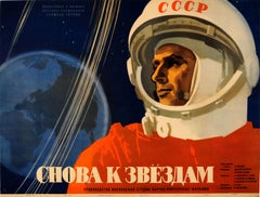 Original Vintage Soviet Space Documentary Movie Poster Cosmonaut Titov Vostok 2