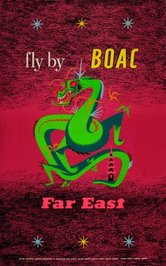 Original Vintage Air Travel Poster Fly By BOAC To The Far East ft. Dragon Design