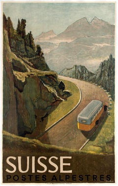 Original Vintage Swiss Travel Poster Suisse Postes Alpestres Alps Post Motor Bus