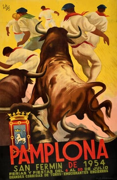 Original Vintage Poster San Fermin Running Of The Bulls Pamplona Spain Encierro