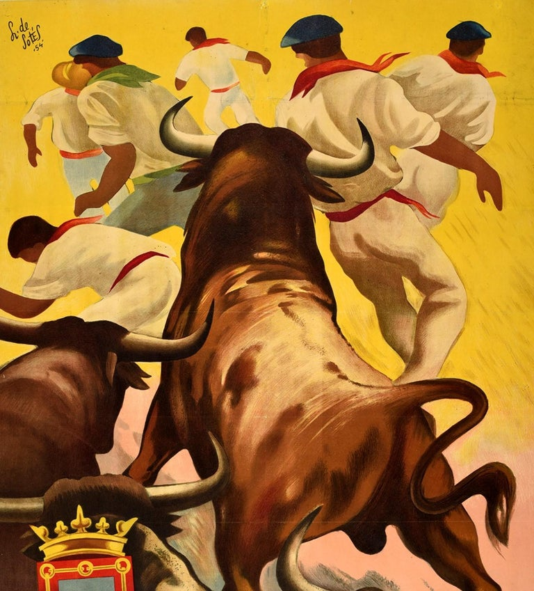 Original Vintage Poster San Fermin Running Of The Bulls Pamplona Spain Encierro - Print by de Sotes