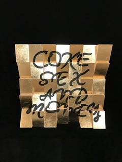 Coke, Sex and Money, Acrylic Paint, Gold Leaf on Canvas Wooden Blocks Signed