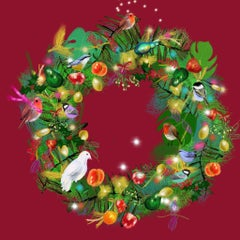 Christmas Wreath Hostess Gift Instead of Christmas Card Print Happy Holidays