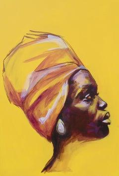 Yellow Focus, original emulsion acrylic paint signed great reviews portrait