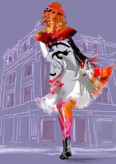Striding  limited edition print pre-release expo Soho House and LFW19