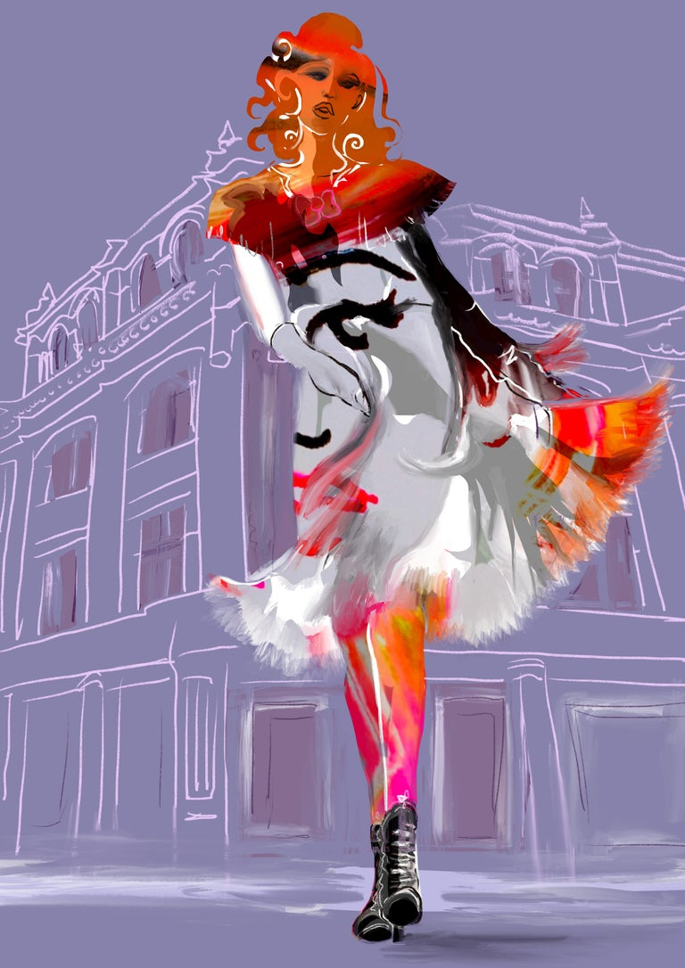 Striding  limited edition print pre-release expo Soho House and LFW19 - Art by Martine Spencer