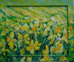 Field of Daffodils original personally signed mixed media oil on canvas yellow
