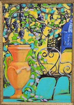 Italian Urn with Grapevine Original Mixed media Capri vibrant signed colours