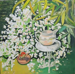White Jug on table with scented Philadelphus Original mixed media signed art