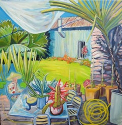 Pond Garden with lady, huge leaves and cacti original art oil canvas signed
