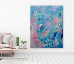 Voyage, Original, Canvas, Acrylic paint, blue, pink, gloss interiors signed