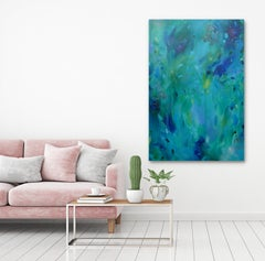 Turquoise Jungle, Original, Canvas, Acrylic paint, abstract, varnish, signed