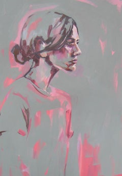 Pink and Grey, original signed great reviews vibrant portrait