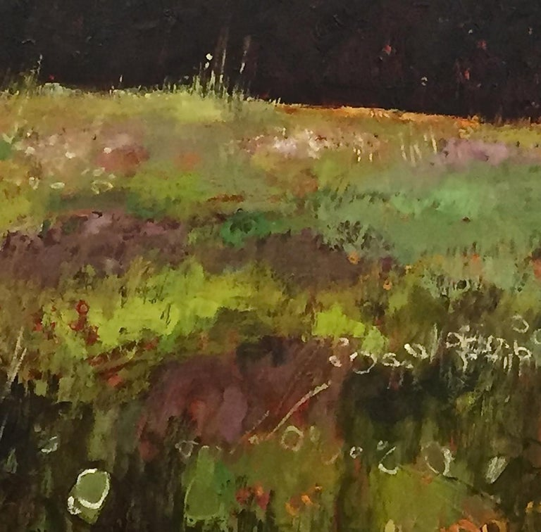 Tuscany Meadow with fireflies Original Oil on Canvas Signed Certificates   For Sale 2
