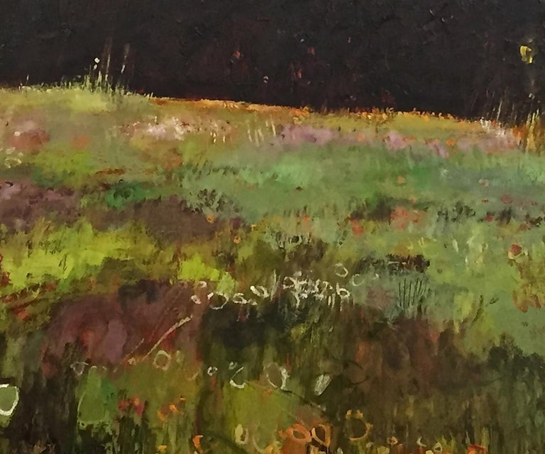 Tuscany Meadow with fireflies Original Oil on Canvas Signed Certificates   For Sale 1
