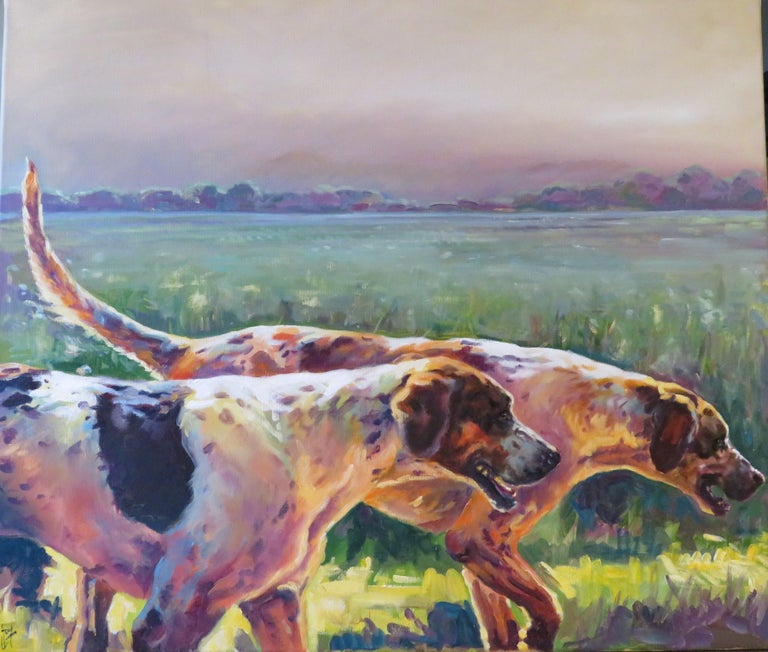 Harris, A.S.E.A, was born in Warwickshire in 1973, and having moved extensively is now settled in Dorset with her family, horses and dogs.  Her working methods vary dramatically from highly detailed dog portraits to 4ft squared loose canvasses
