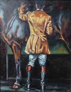 Smart As Paint Original Oil paint canvas board morning tacking up, hunter