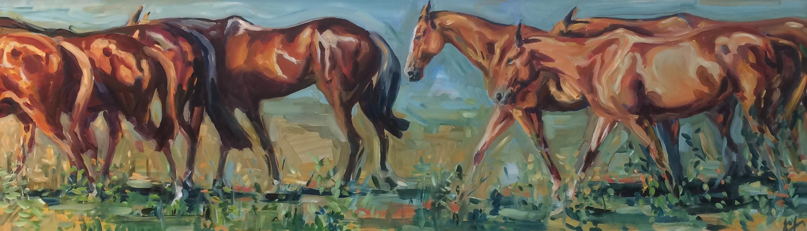 Summer Days Original, Oil on Board, Signed bottom right, polo ponies, summer,