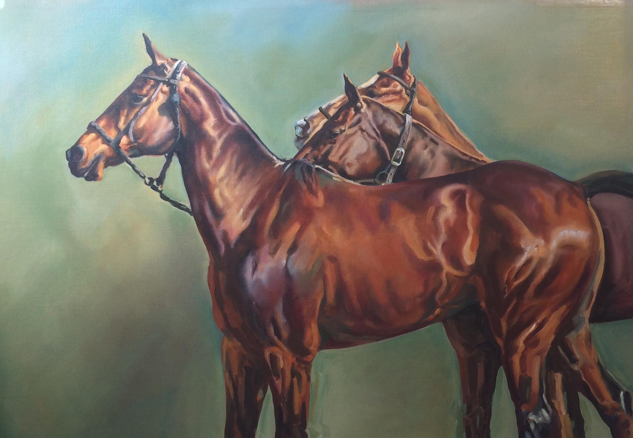 The Athletes Original, Oil on Canvas, Signed on bottom right, polo ponies