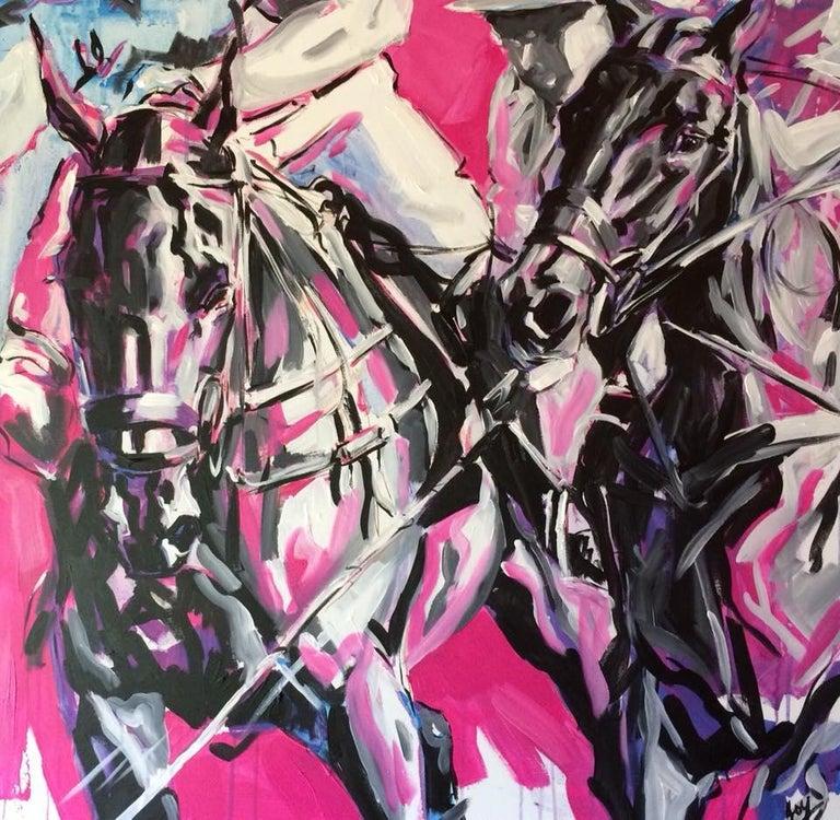 Deborah Harris Animal Painting - Passion Original, Signed bottom, polo horse, hot pink, abstract acrylic paint
