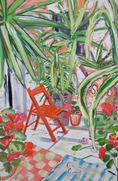 Red Chair Among Spiky Plants Original Mixed media red green british garden scene