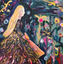 Garden of Birds original mixed media colour magical scene girl blonde bird