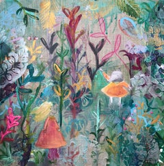 Meet Me In The Garden original mixed media colour magical  raw silk linen mouse