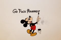 Go Fuck Yourself Original Pen Color color pencil on paper mickey mouse signed
