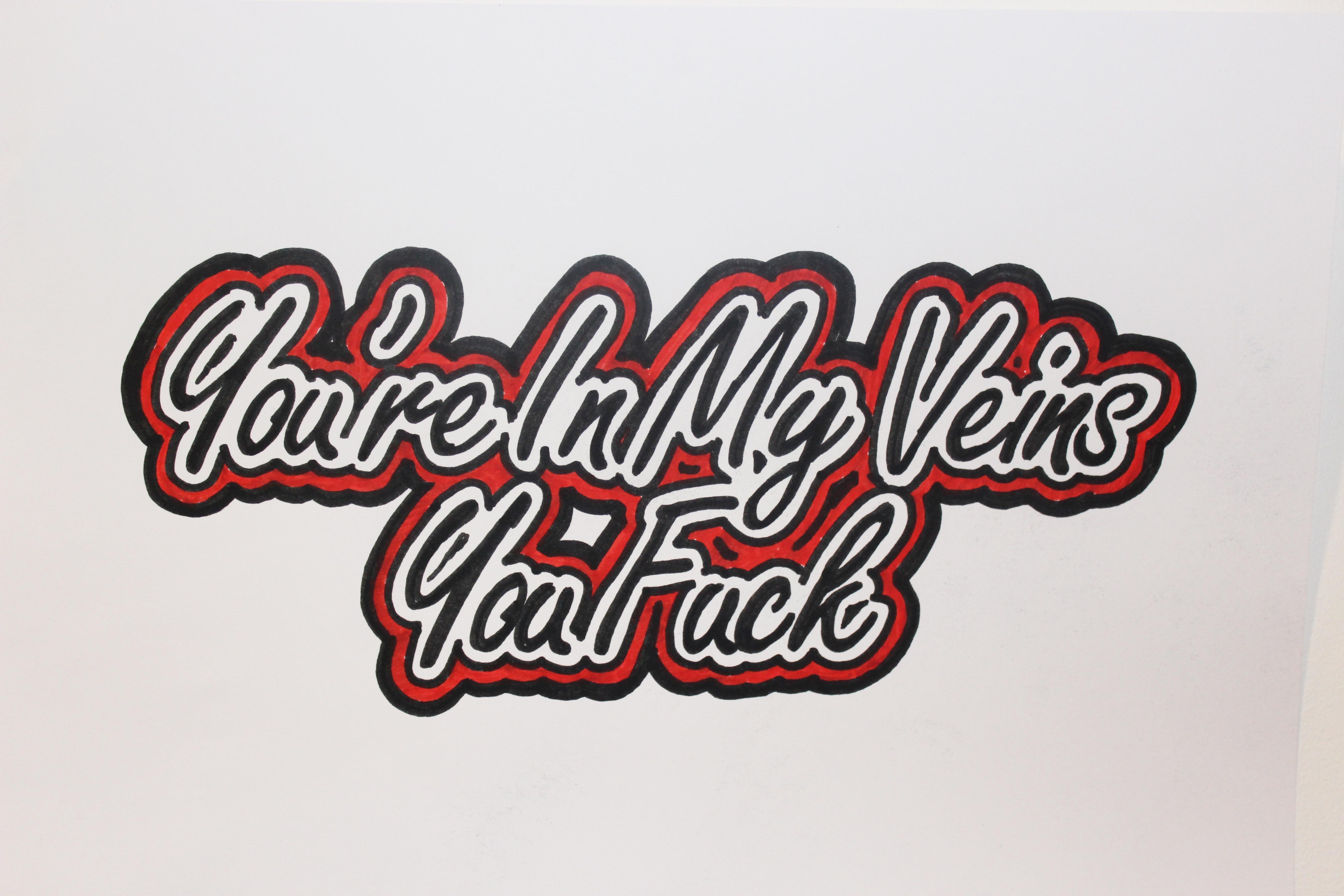 In My Veins Original paper emerging artist red black pen pop signed eyal booker