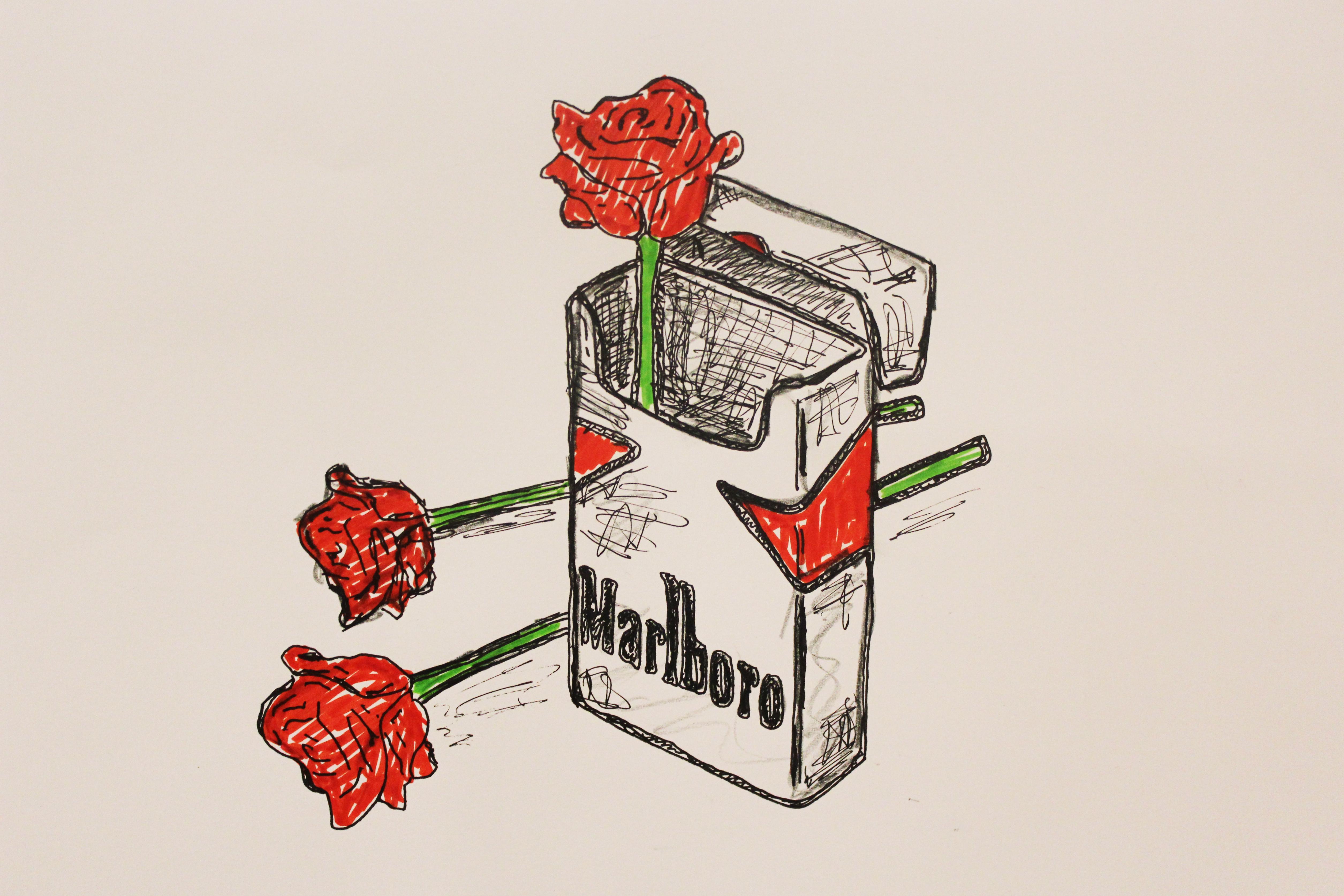 Smoking Kills pen pencil original marlboro paper roses signed cigarette