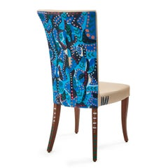 Individual dining chair, cream leather seat, bespoke Art on back, interior, blue