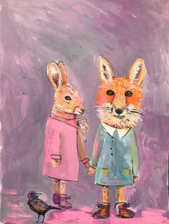Children Original painting acrylic paint foxes Signed
