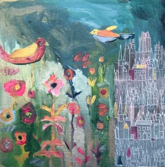 Birds and castle flowing original personally signed