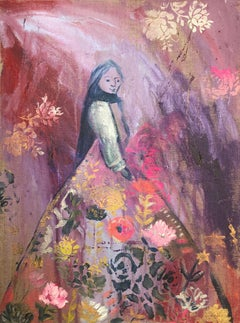Lady on Flowers Original Art Canvas Silver Gouache Christmas
